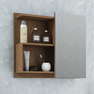 Espelheira para Banheiro 100% MDF Lis 60 Cm Amendoa - Mgm
