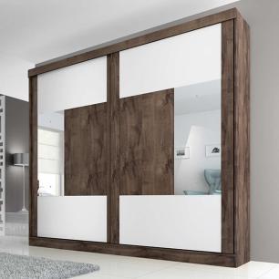 Roupeiro Joinville Slide 2 Portas - 100% MDF - Com Espelho - Cafe/Cafe/Branco - Panan