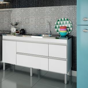 Balcao De Cozinha 100% Mdf Prisma Para Pia 154 cm - Branco - Mgm