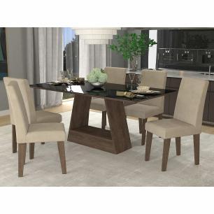 Sala Jantar Alana 180cm x 90cm  Com 6 Cadeiras Milena Marrocos/Preto/Sued Bege - Cimol
