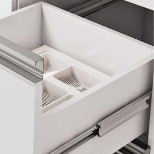 Balcao De Cozinha 100% Mdf Ibiza Para Pia 144 Cm Amendoa/Branco - Mgm