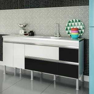 Balcao De Cozinha 100% Mdf Ibiza Para Pia 154 cm - Branco - Mgm