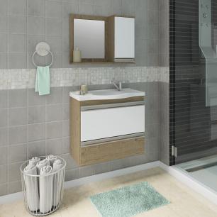 Gabinete De Banheiro 100% Mdf Grecia 65 Cm Com Espelho Carvalho/Branco - Mgm