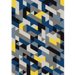 Passadeira Mosaic Azul DNA Home Antiderrapante 240x66 cm