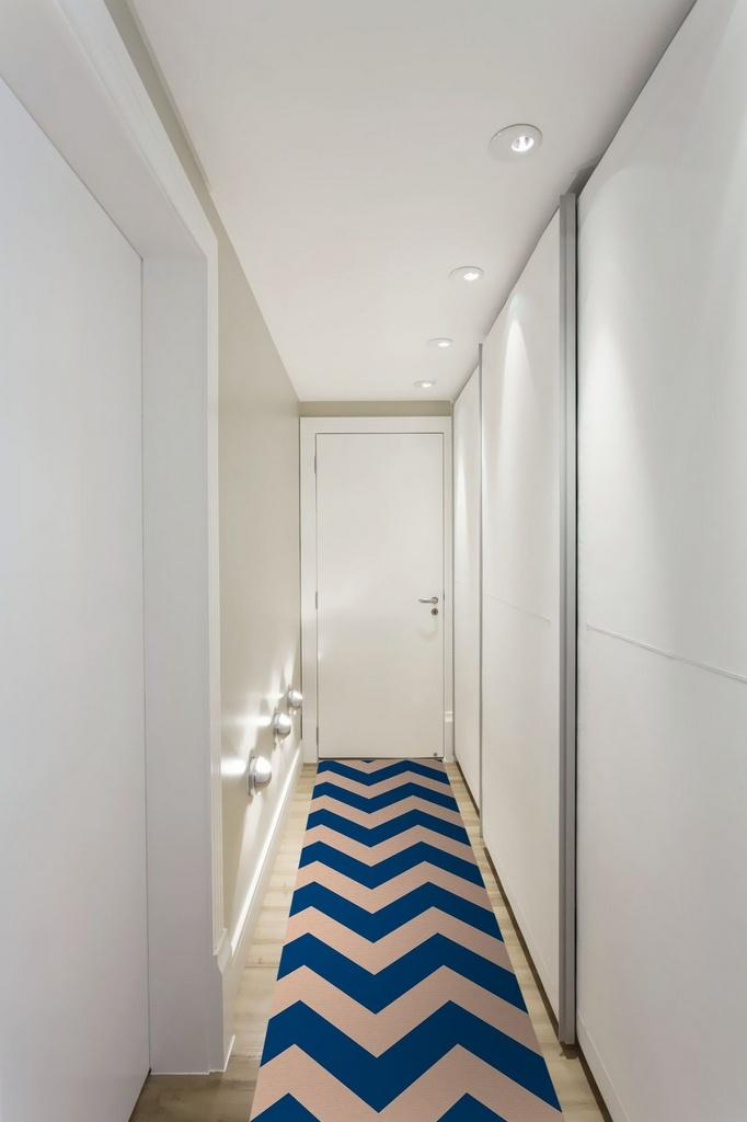 Passadeira Chevron Azul DNA Home Antiderrapante 240x66 cm