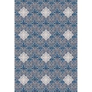 Tapete para Sala DNA Home Azuleijo Azul Antiderrapante 200x140cm