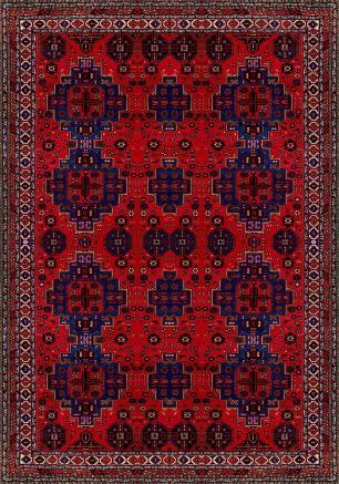 Tapete Para Sala Persa Vermelho e Azul DNA Home Antiderrapante 200x140 cm