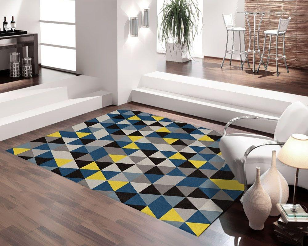 Tapete Para Sala DNA Home Blue Triangle Antiderrapante 200x140cm