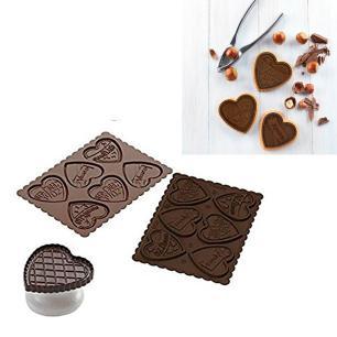 Molde para biscoitos e cortador Easy Choc Coração - Silikomart
