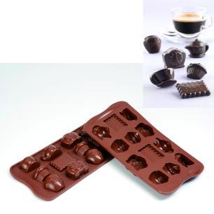 Forma de silicone para chocolate Tea Time com 12 cavidades - Silikomart