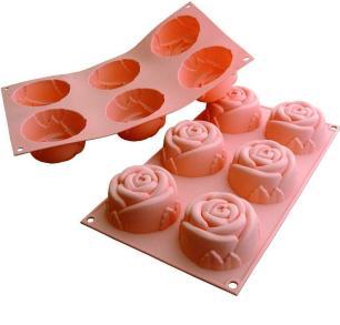 Formas de silicone Roses com 6 cavidades - Silikomart