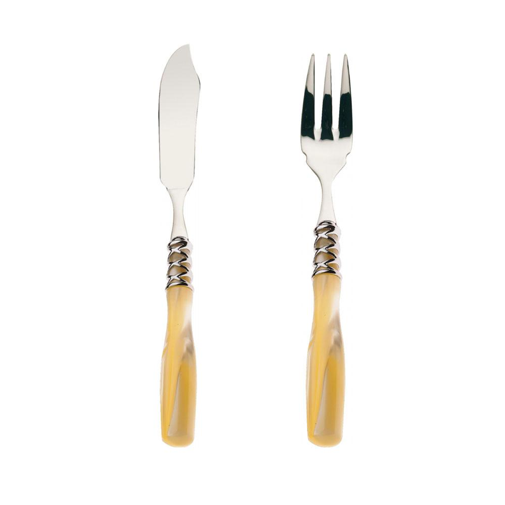 Conjunto de faca e garfo para peixe Arianna perolada 12 peças  - Bugatti