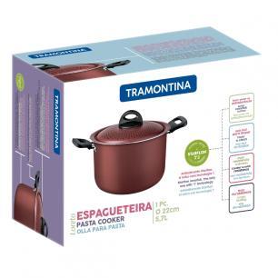 Espagueteira Tramontina Loreto Em AlumÍNio Com Revestimento Interno Antiaderente Starflon T1 Vermelh