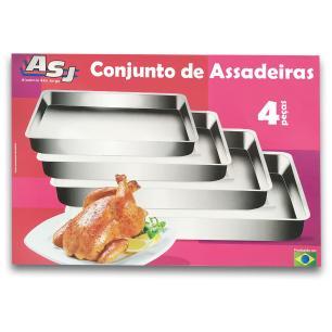Conjunto assadeiras Retangular Alta 04 Peças ASJ