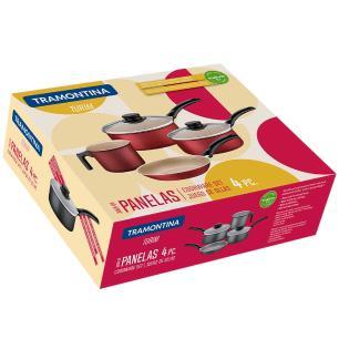 Conjunto De Panelas Antiaderente Starflon Cinza Tramontia 4 Peças