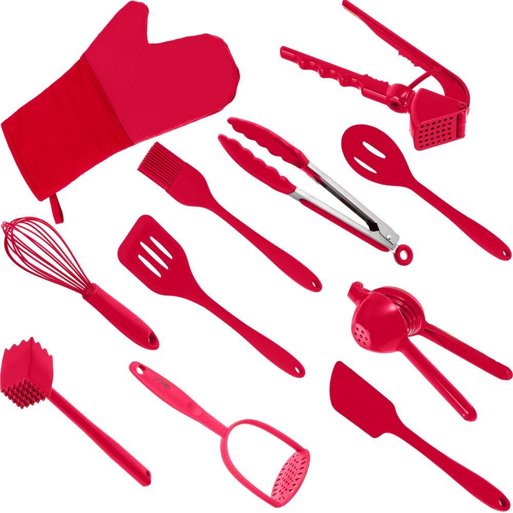 Utensílios Cozinha 11 Peças Silicone Vermelho Weck