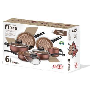 Jogo De Panela Alumínio Flora 6 Peça Antiaderente MTA Cereja 8702