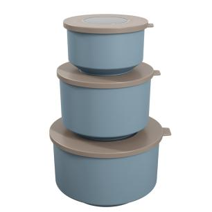 Conjunto 3 potes Hoop Cinza e Azul cód. 99262/1334