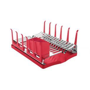 Escorredor De LouÇA Tramontina Plurale Em AÇO Inox Com Bandeja Coletora Vermelha 61535060