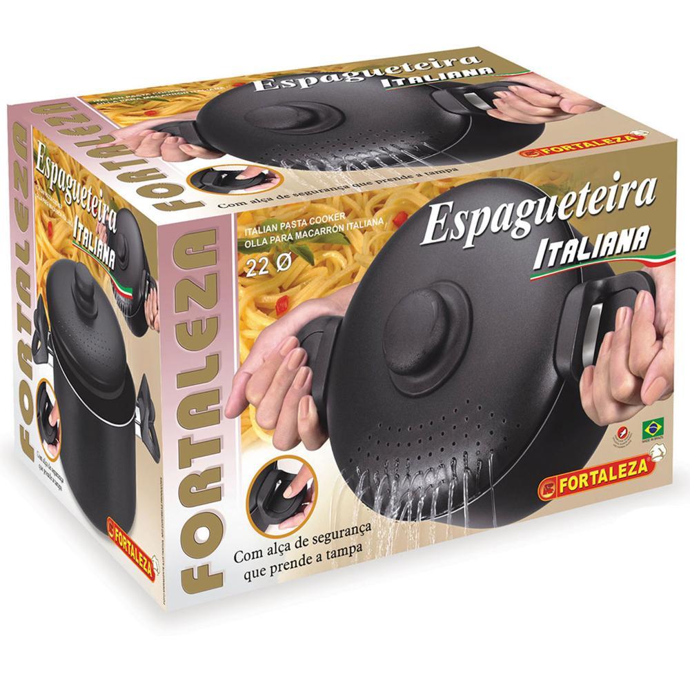 Espagueteira Italiana Antiaderente nr 22 Preta Fortaleza