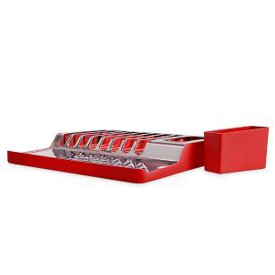 Escorredor De Pratos inox Minimal Vermelho Brinox