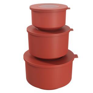 Conjunto 3 potes Hoop Vermelho Goiaba cód. 99262/1482