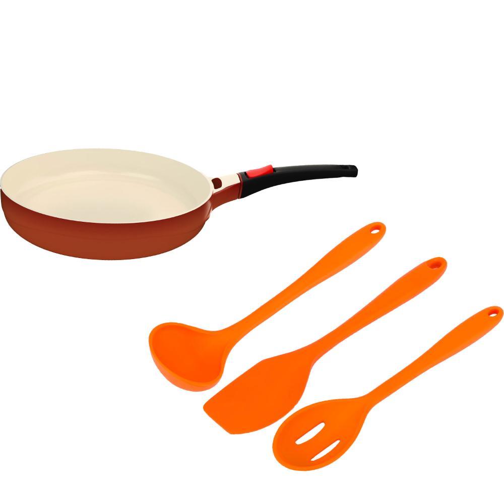 Kit Frigideira 1,7l Le Cook e Utensilios Silicone Laranja