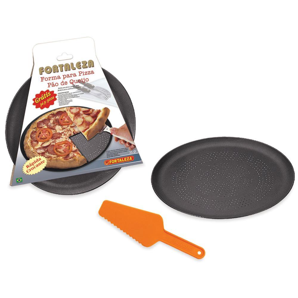 Forma Pizza Crocante Antiaderente nr 35 Preta Fortaleza