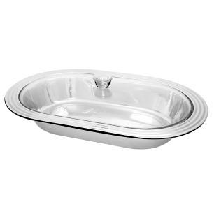 Travessa oval em aço inox com tampa de vidro - 34cm Gourmet Mix