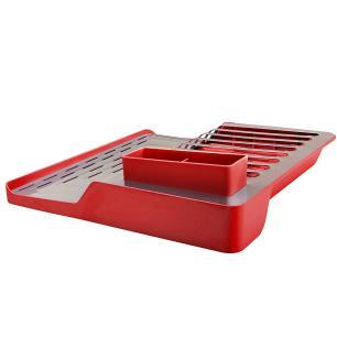 Kit para pia de cozinha 03 peças com Lixeira, Escorredor e organizador Vermelho Brinox