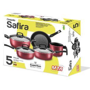 Conjunto Safira Antiaderente grafite com 5 peças MTA 5660