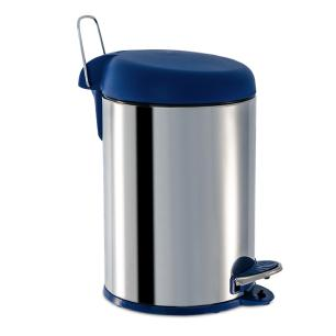 Lixeira em Inox com Pedal 5 Litros Tampa Azul Brinox cód. 3048/262