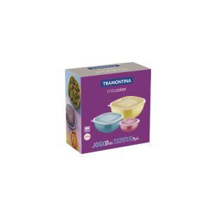 Jogo De Potes Tramontina Mixcolor Em Polipropileno Com Tampa Transparente 3 PeÇAs 25099980