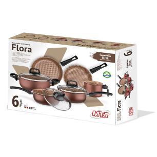 Jogo De Panela Alumínio Flora 6 Peça Antiaderente MTA Chocolate 8715