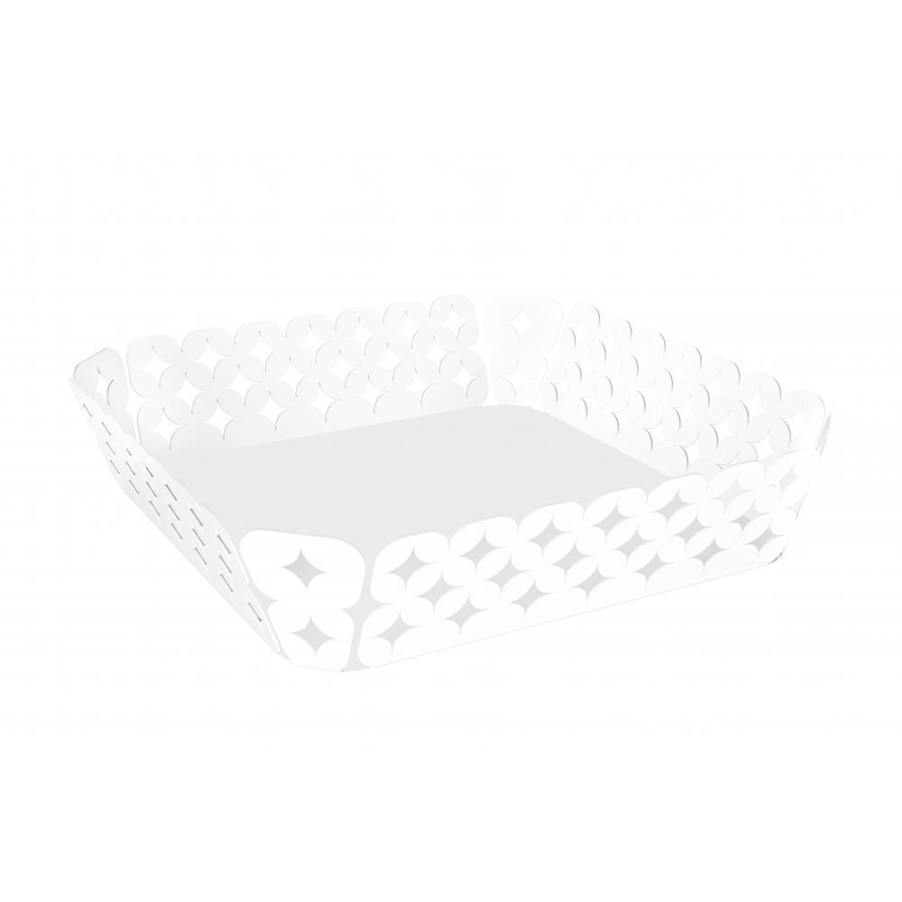 Cesto Tramontina Quadrado Branco Em AÇO Inox Desenhos Vazados 22 Cm 61802234
