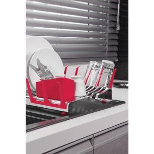 Escorredor De LouÇA Tramontina Plurale Em AÇO Inox Com Porta-Copos E Porta Talheres Vermelho 6153556