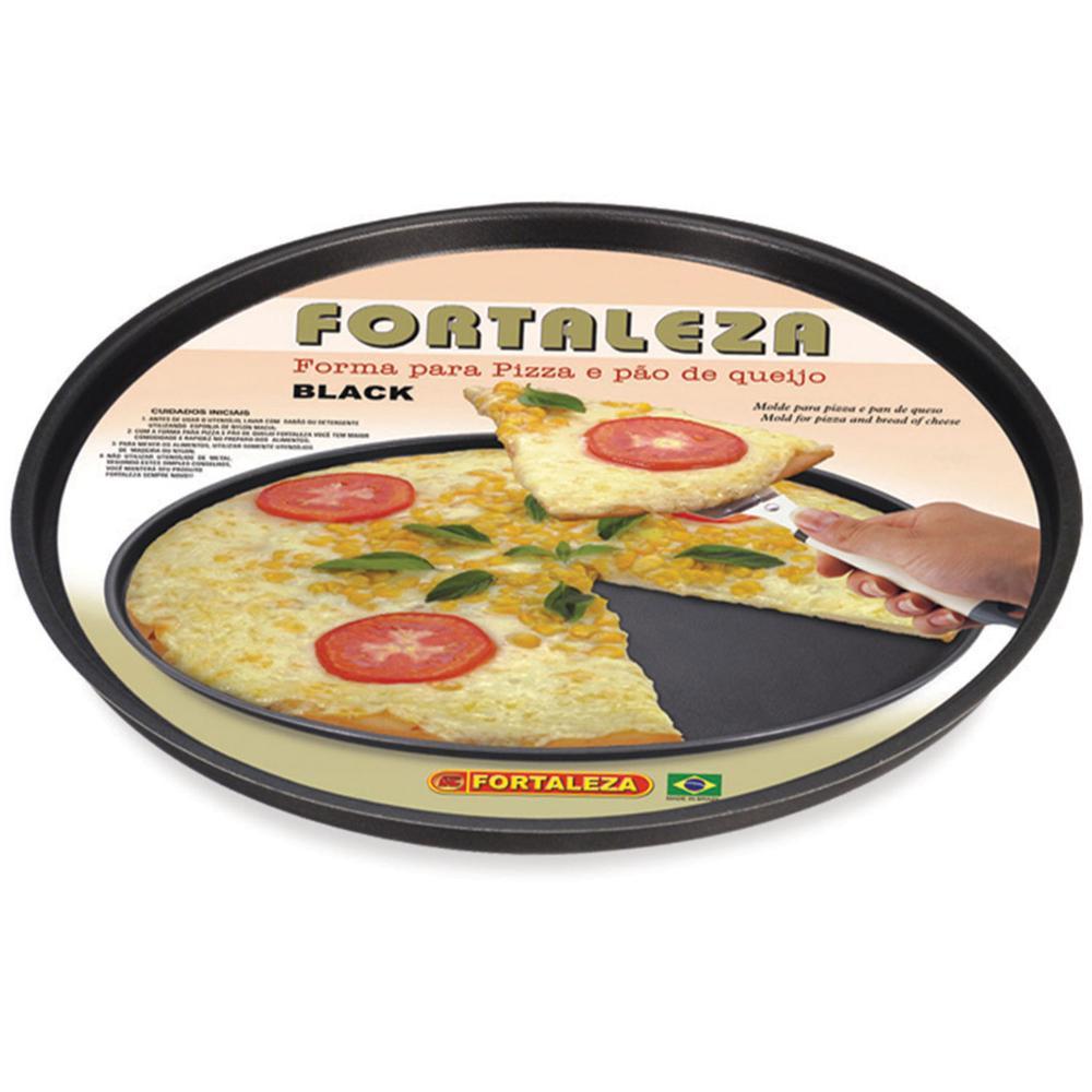 Forma assadeira Pizza Antiaderente nr 35 Preta Fortaleza