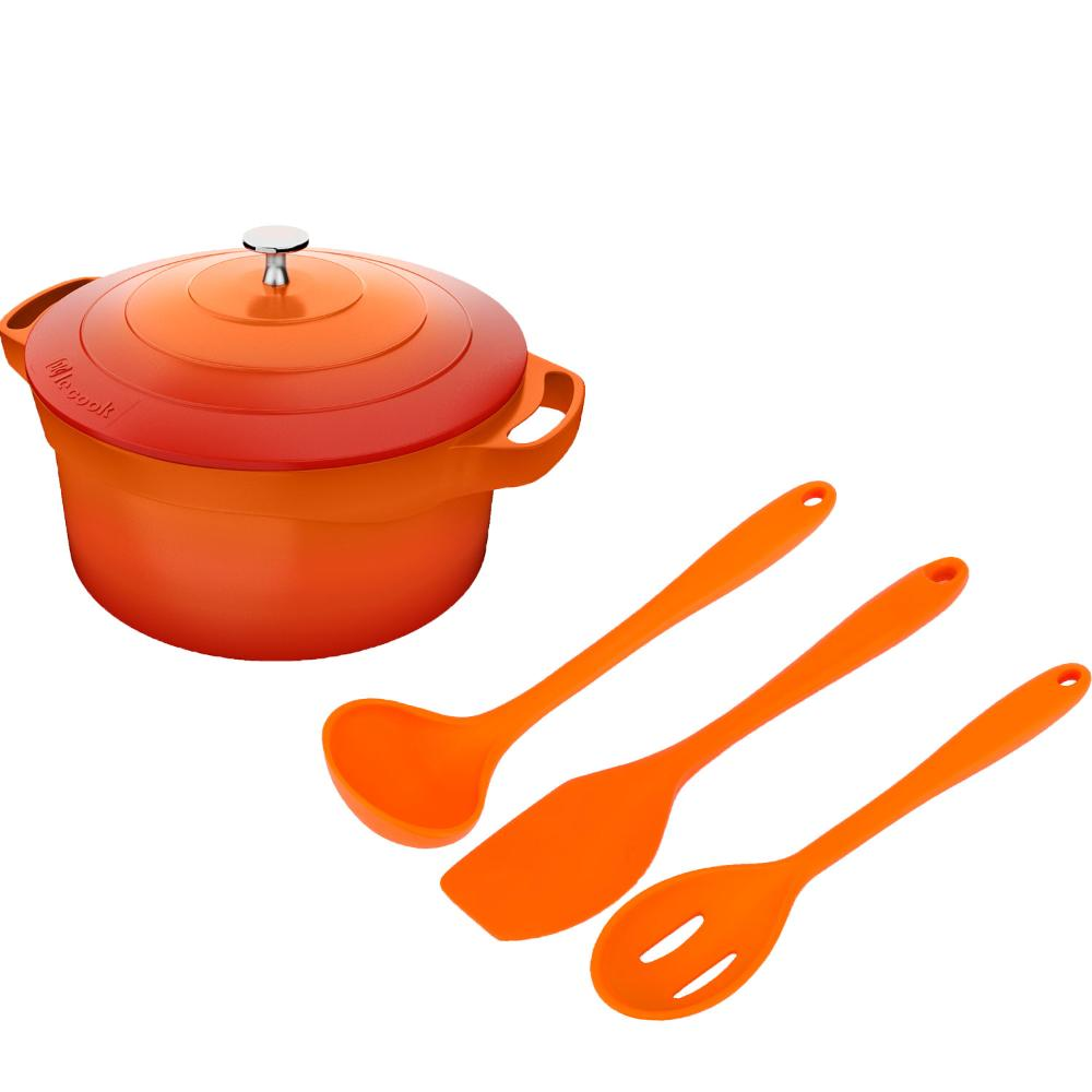 Kit Caçarola 4,5l Le Cook e Utensilios Silicone Laranja Weck