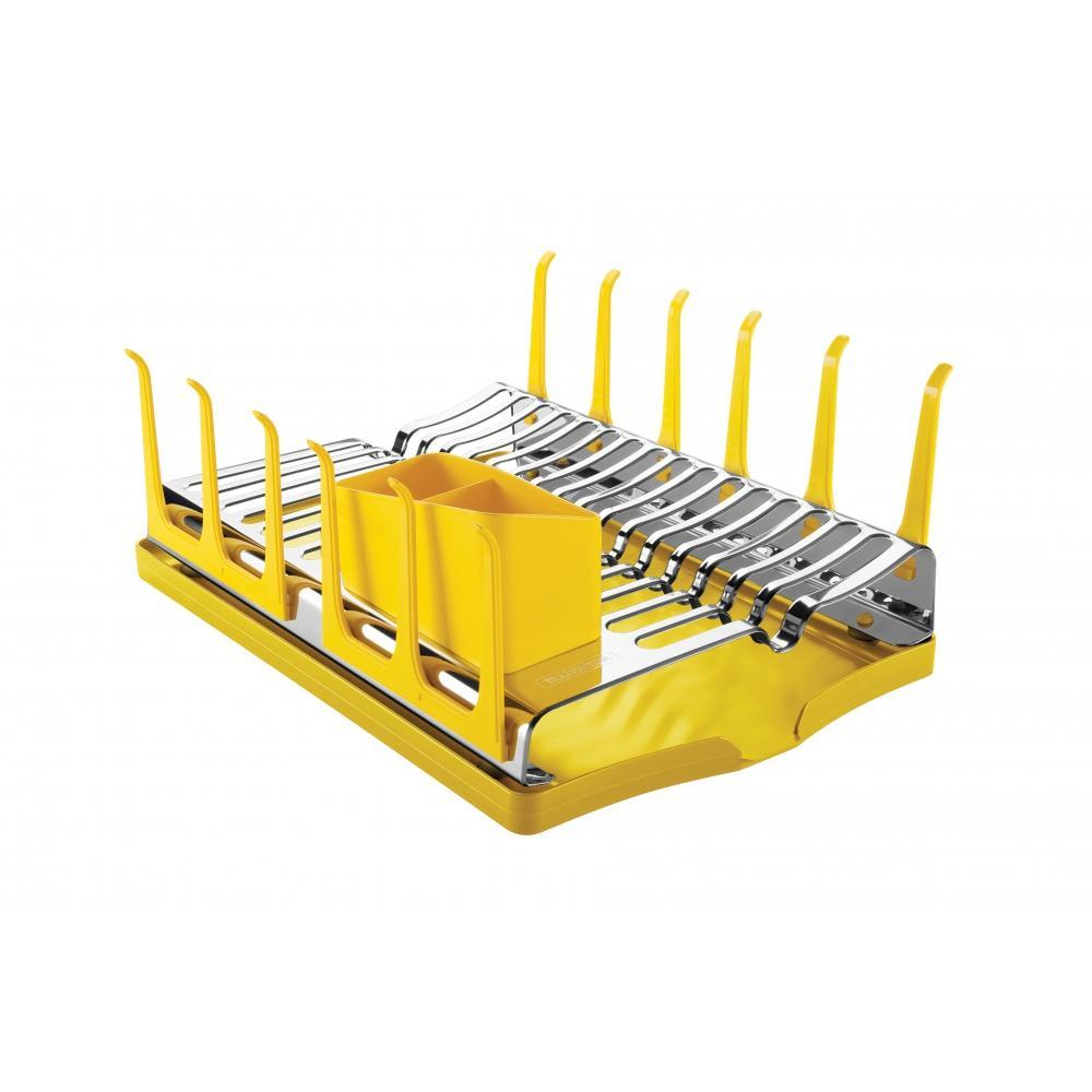 Escorredor De LouÇA Tramontina Plurale Em AÇO Inox Com Bandeja Coletora Amarela 61535080