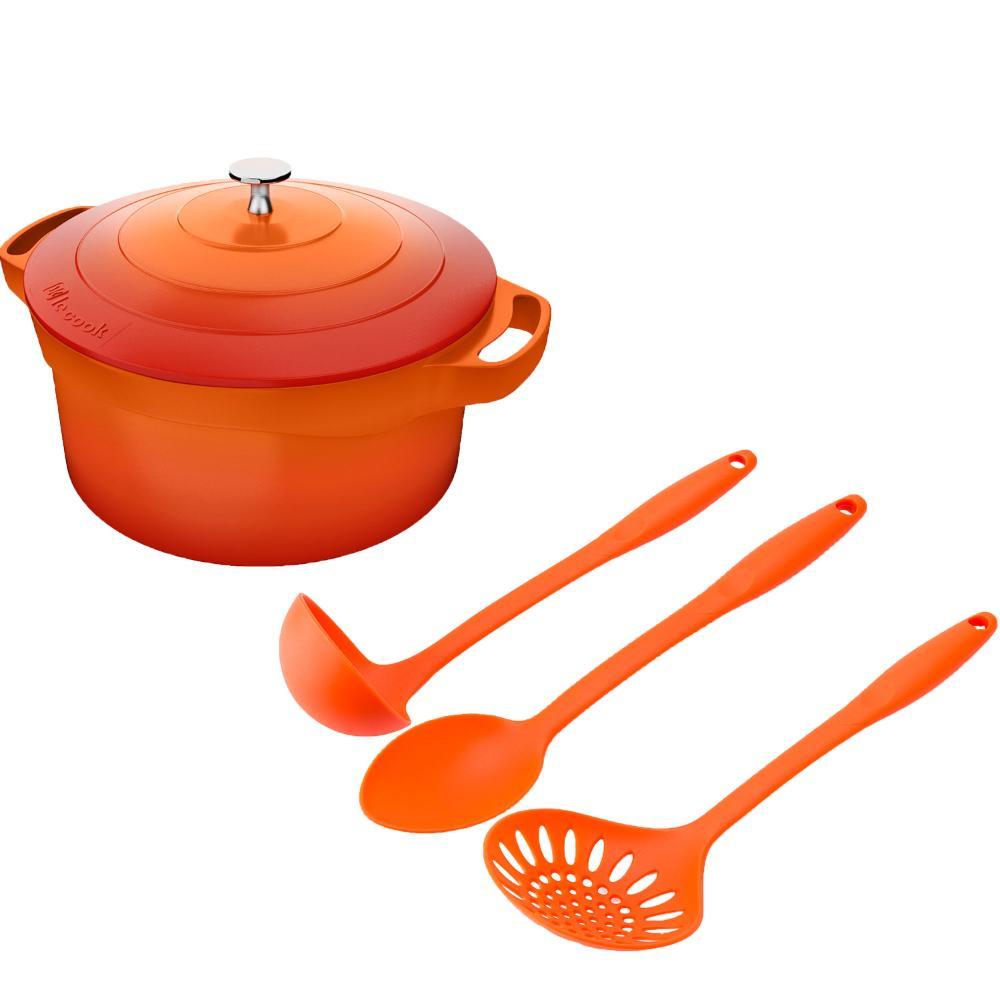 Kit Caçarola 4,5l Le Cook e Utensilios de Nylon Laranja Weck