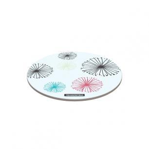 TÁBua Redonda Tramontina Em Vidro Branco Com Estampa Colorida 25 Cm 10399004