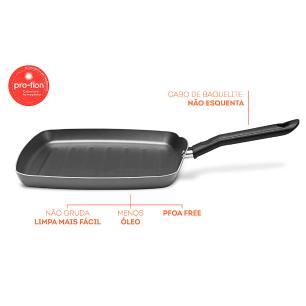 Grill Garlic 24 cm Antiaderente Cinza Brinox 7000/373
