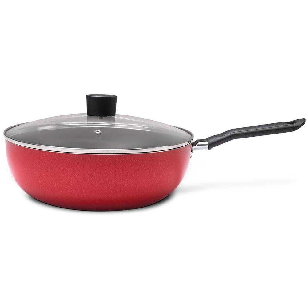 Wok Antiaderente 24 cm Vermelha 2,3 L Garlic Brinox 7001/366