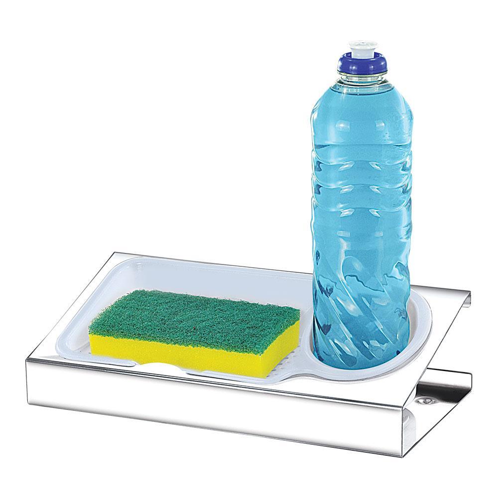 Porta Detergente Inox c/ suporte Plástico Branco Makinox