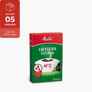 Kit Com 5 Filtros De Papel N2 Melitta C/ 30 Unidades