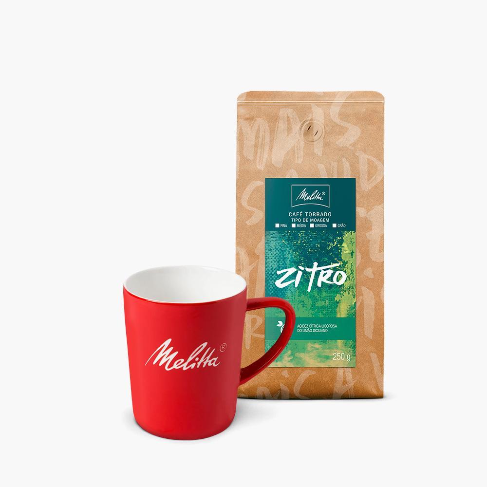 Kit Caneca Vermelha + Café Zitro Melitta 250G - Moagem Média