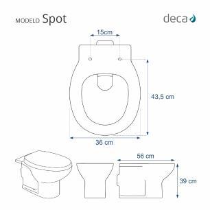 Assento Sanitário Poliester Soft Close Spot para vaso Deca