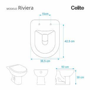 Assento Sanitario Poliester com Amortecedor Riviera Pergamon (Bege Claro) para Vaso Celite