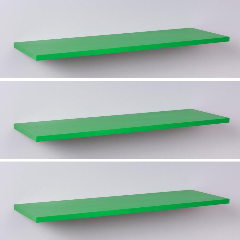 Kit Com 3 Prateleiras Verdes 40x20cm Com Suporte Invisível