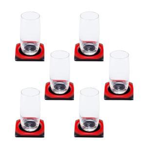 Porta Copos Vermelho e Preto - 6 unidades